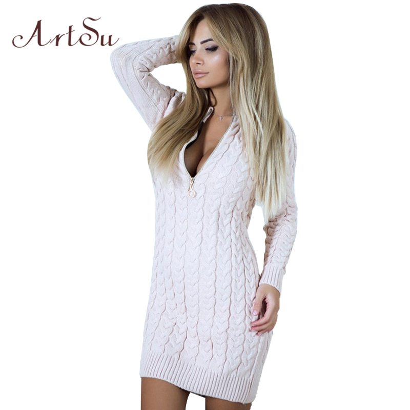 ArtSu Long Sleeve Sweater Mini Dresses Women 2018 Spring Winter Dress Knitted Zipper Up Sexy V Neck Solid Vestidos ASDR30546 цена