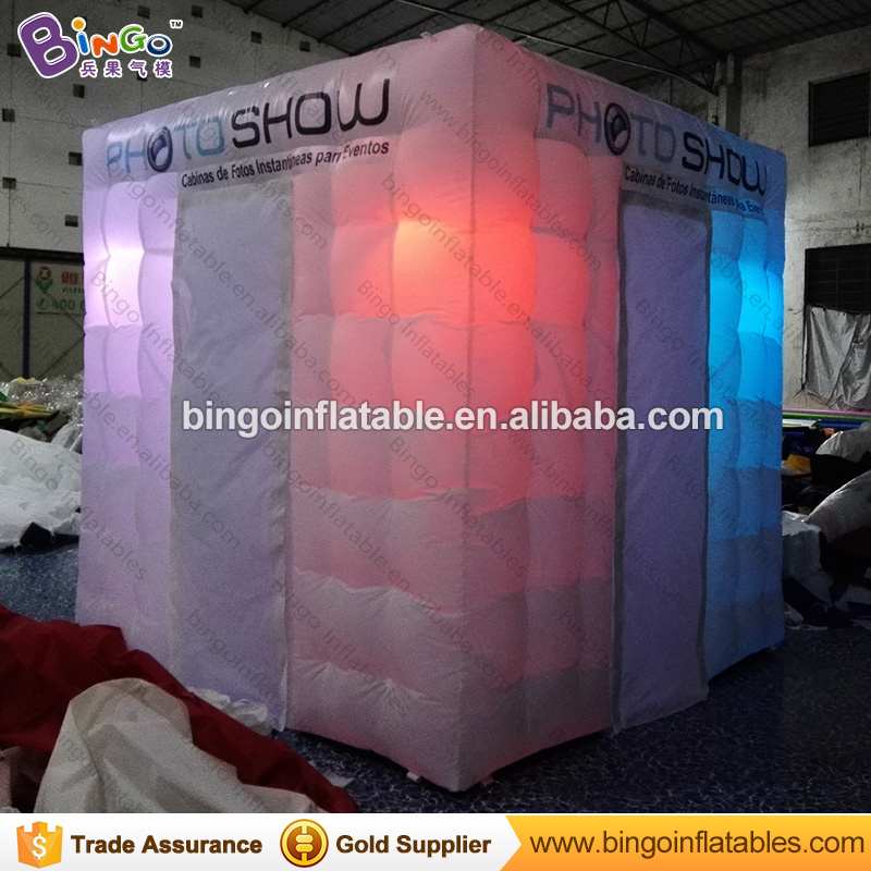 Free Shipping Portable Inflatable Photo Booth Logo printed Two Doors LED lighting Color Change Blow up Party Tent for toy tents white cube portable inflatable photo booth tent inflatable photo booth enclosure with window and colorful led toy tent