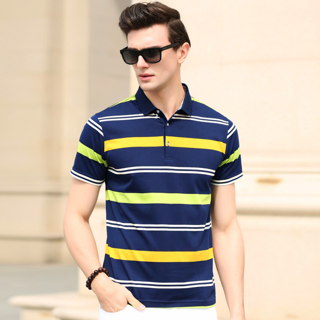 Summer new style top fashion contrast color striped men busines casual polo shirt