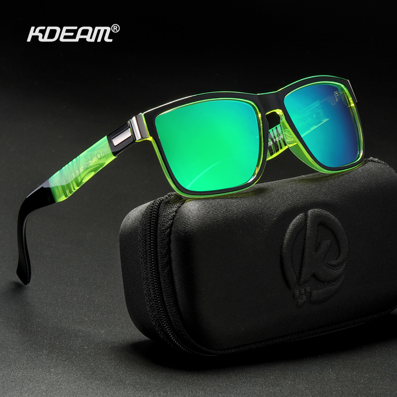 New Polarized Sunglasses for Men KDEAM Driving Mens Sunglasses Square Avantgarde Sun Glasses for Women Assembles 5 Barrel Hinge-in Men's Sunglasses from Apparel Accessories