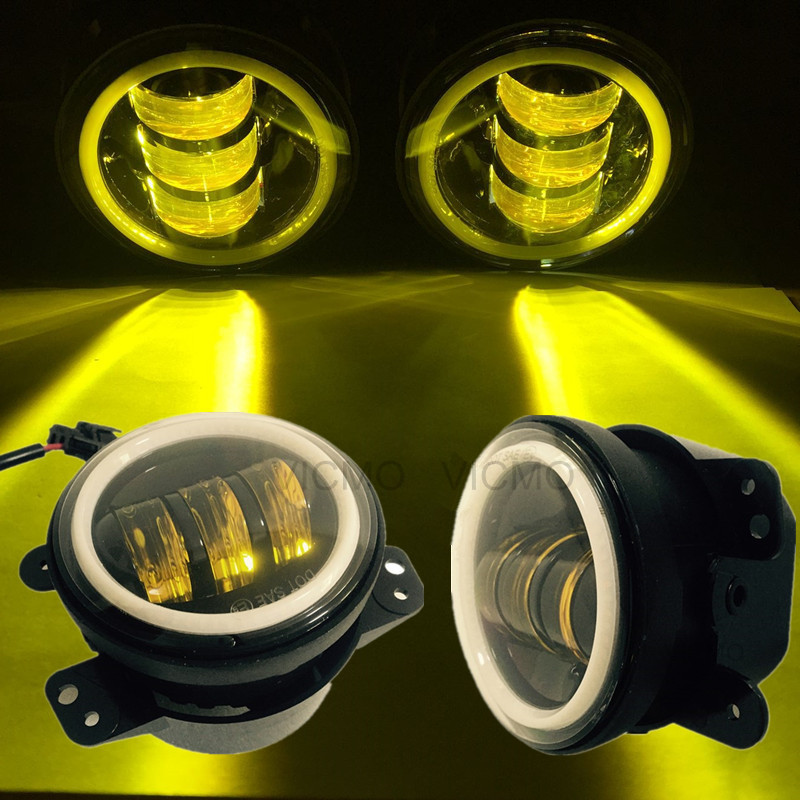4 round led fog lamps leds headlights with Angel Eyes halo ring DRL for Jeep wrangler led fog lights for offroad trucks 6 inch led headlights eagle light hi lo beam halo ring angel eyes x drl for offroad jeep wrangler front bumper fog light