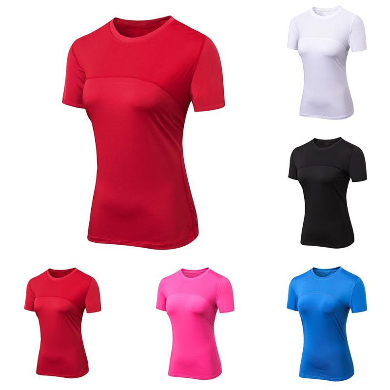 Summer Sports Running T-shirt Ladies Gym Fitness Short-sleeved Quick-drying Breathable Stitching Net Short Sleeve