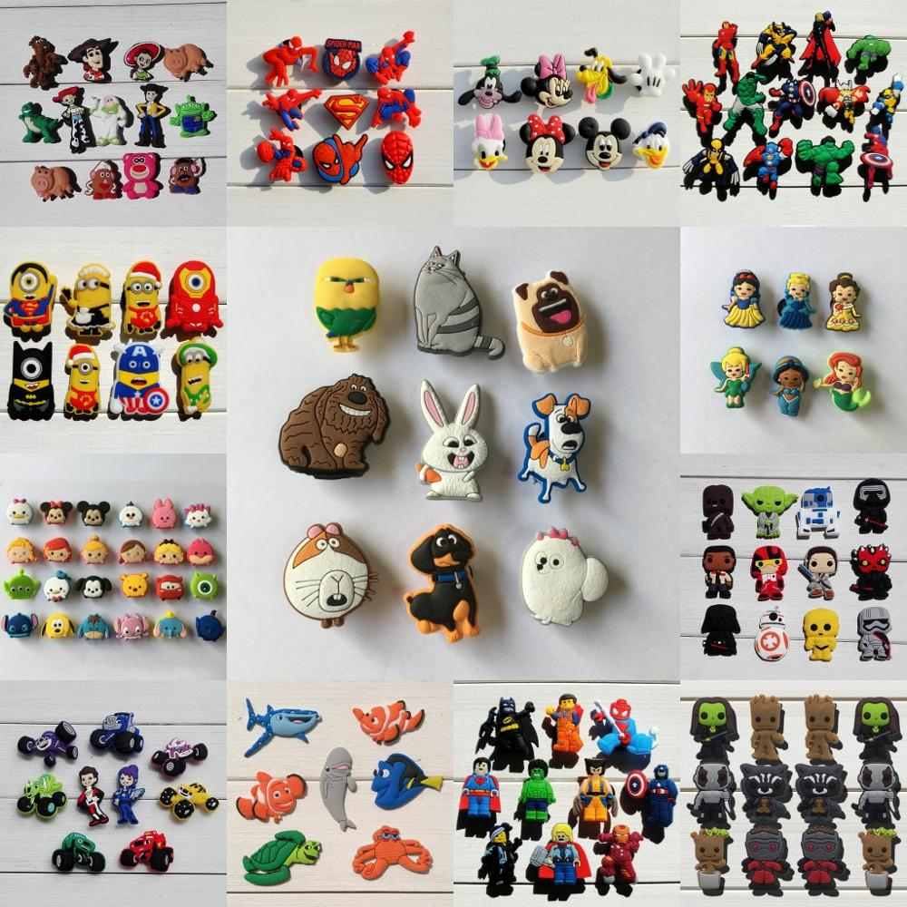 8-24pcs/Set Mickey Avengers Pvc Shoe Charms Star Wars Shoe Accessories Shoe Decoration For Kids Croc Charms Jibz Gift