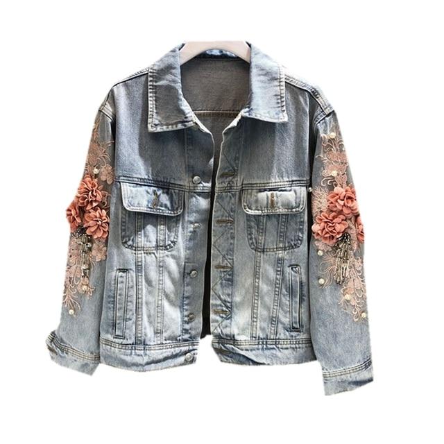 autumn women embroidered three-dimensional flower short wash long-sleeved denim jacket light blue female jeans jacket 1833
