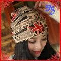 Free Shipping Spring and Autumn muffler scarf dual-use fashion UK flag turban cap covering cap turban beanie hats for women