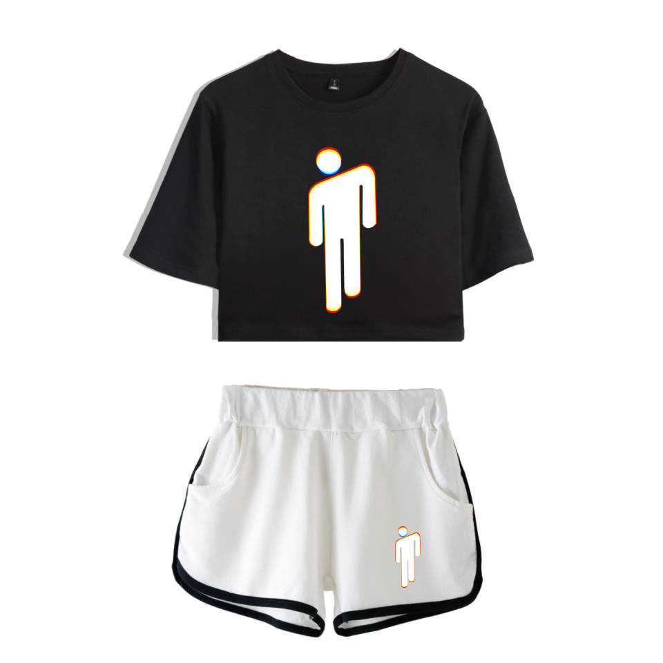 109451e573104 FADUN TOMMY Billie Eilish Summer Kpops Women Two Piece Set Shorts And  T-shirt Clothes