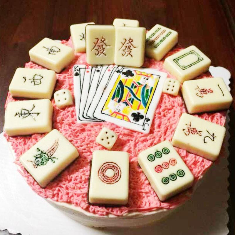 Birthday Cake Baking Mold Decoration Manual Mold Section Mahjong