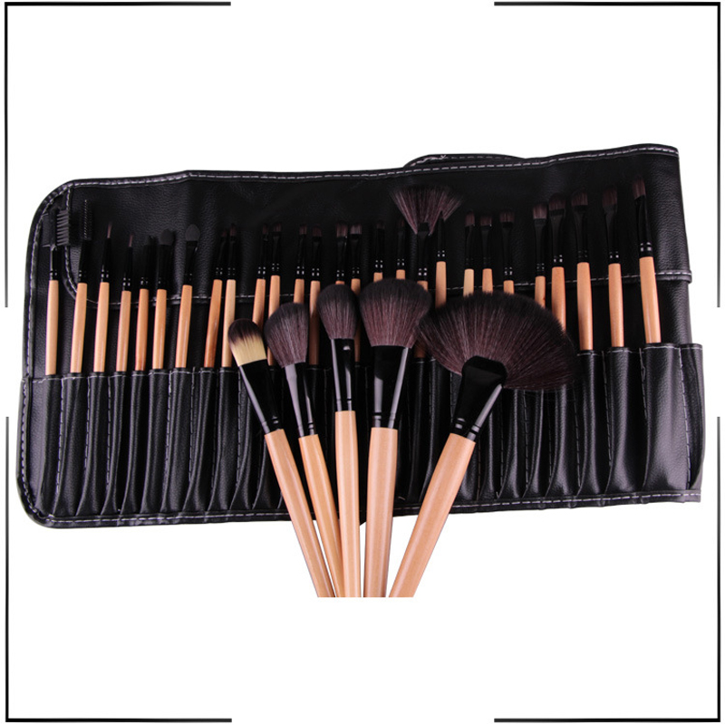 Facial Make Up Brushes 32 Pcs Cosmetic Makeup Brushes Set Cosmetic Brush Kit Maquiagem Goat Hair Brush with Leather Cosmetic Bag msq 15pcs professional makeup brushes set foundation fiber goat hair make up brush kit with pu leather case makeup beauty tool