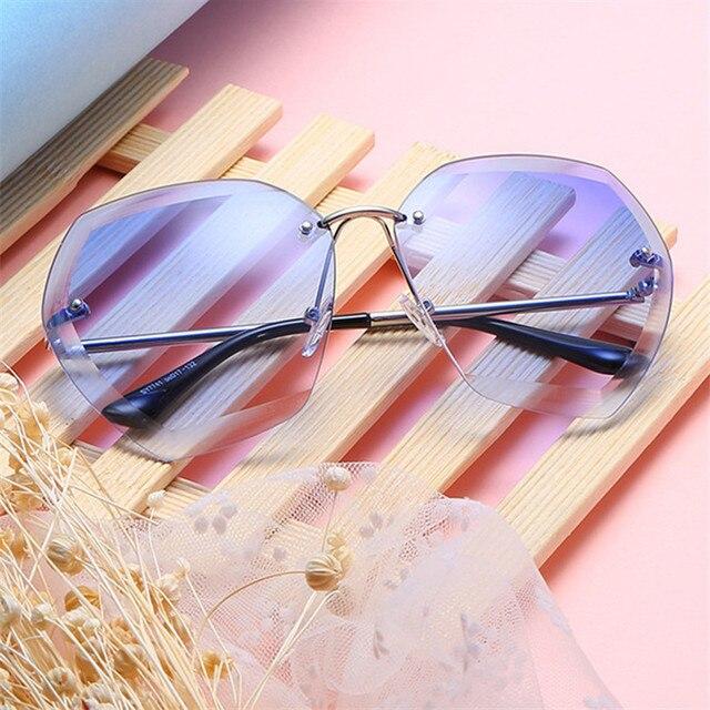 9b50b365d2 Carré Sans Monture Lunettes Diamant De Coupe Lentille lunettes de Soleil  Femmes Marque Designer Mode UV400