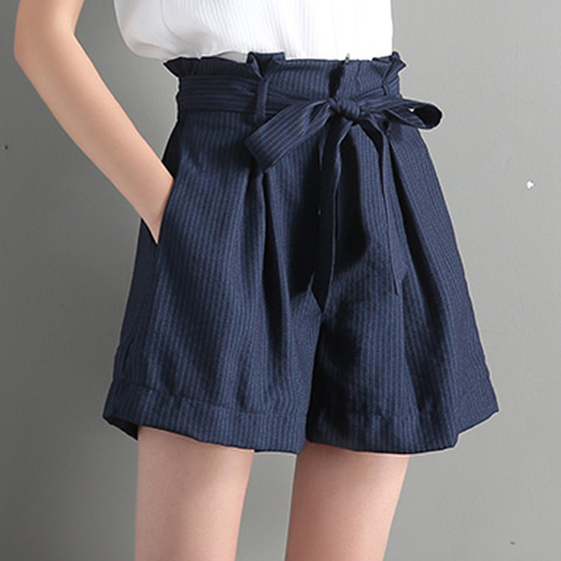 Qiukichonson Summer Striped Shorts Korean Style Women Bowknot Pockets Ruffle Vintage Wide Leg Casual Shorts High Waisted