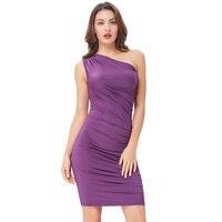נשים שמלות כתף אחת בציר סגול מוצק סקסי קיץ 50 s רוקבילי עיפרון בגדי מסיבת Midi Dress Bodycon Slim Vestidos