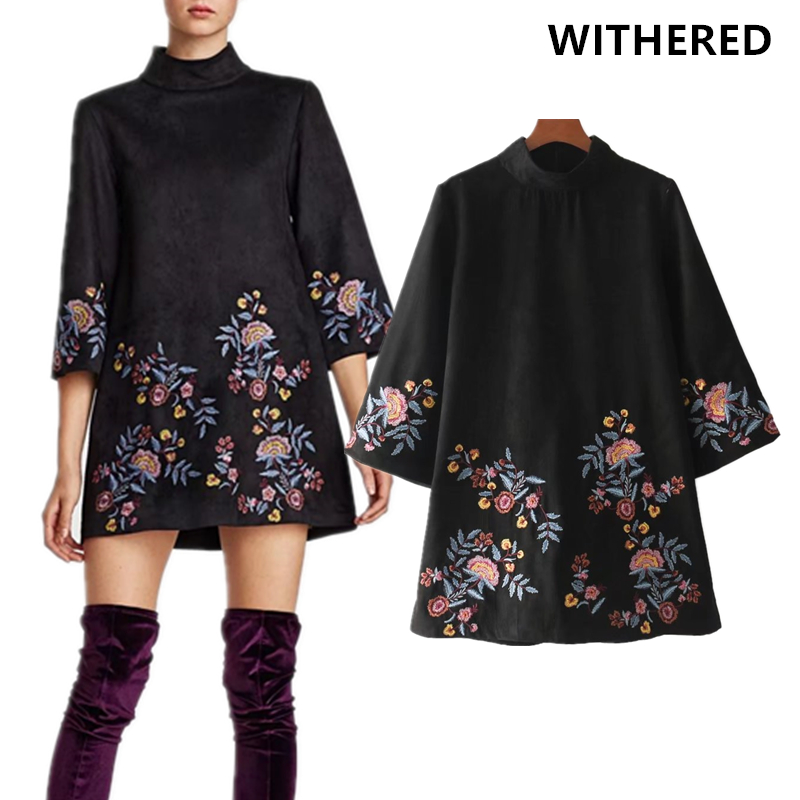 Withered winter dress vestidos fashion Ethnic style vintage Suede floral embroidery flare half sleeve party mini dress women top vintage mini flare dress