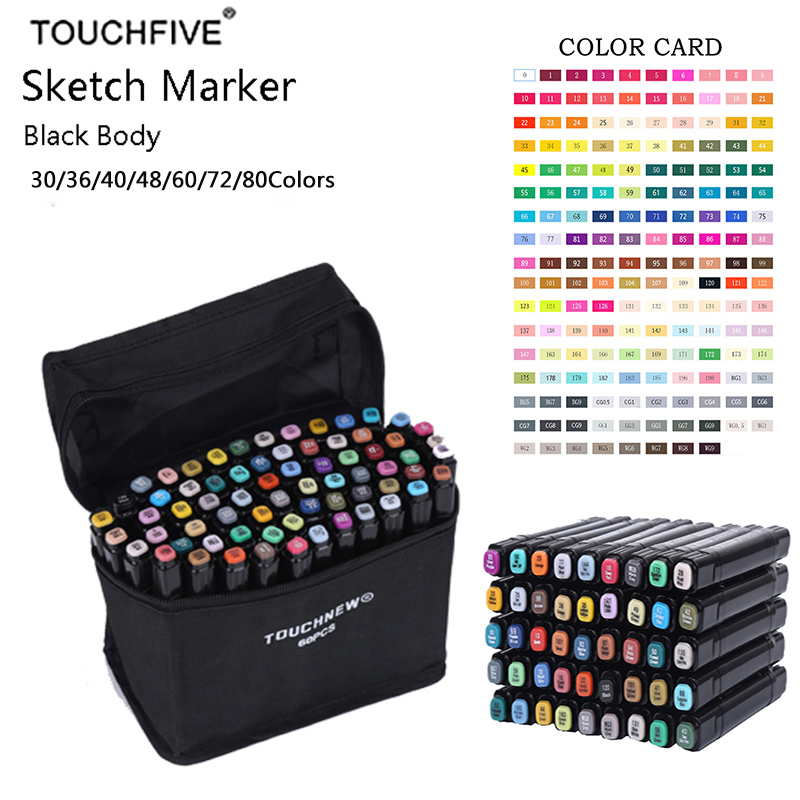 TouchFIVE 80 Colors Sketch Markers Double Headed Alcohol Based Marker Set For Manga Marker Graffiti Office School Supplies promotion touchfive 80 color art marker set fatty alcoholic dual headed artist sketch markers pen student standard