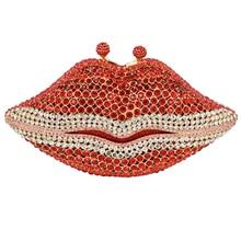 Frauen Kupplungen Handtasche Roten Lippen Luxus Kristall Diamant Frauen Handtasche Dame-parteihandtasche diamante Abendtasche SC501