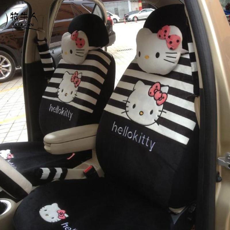 MUNIUREN 18pcs Cartoon Hello Kitty Universal Car Seat Covers Women Car Styling Stripe Print Auto Seat Cover Car Accessories
