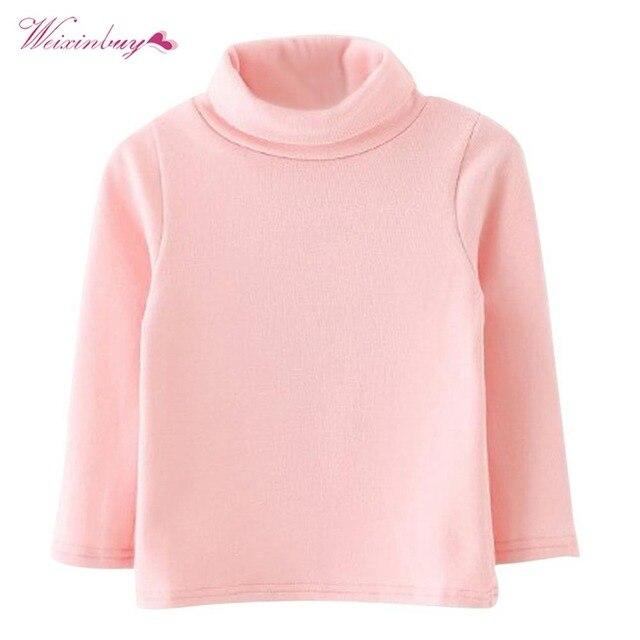 WEIXINBUY 2018 תינוק החורף לילדים בני בנות חולצה עם שרוולים ארוכי צוואר גבוה סוודר בסיס חולצת כותנה חם