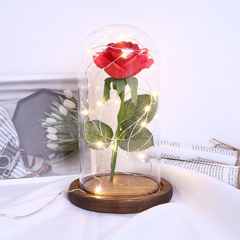 1 Pièces Led Beauté Rose Alimenté Par Batterie Rouge Fleur Chaîne Lumière Lampe De Bureau Romantique Saint Valentin Cadeau D'anniversaire