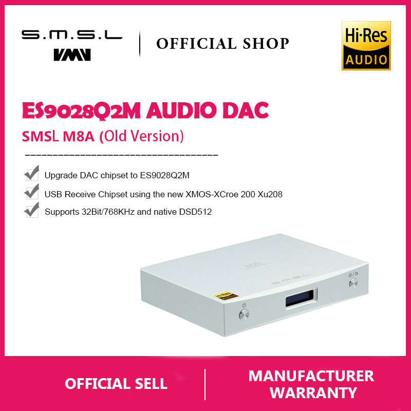 Tragbares Audio & Video Alte Version Smsl M8a Native Es9028q2m Dsd512/pcm768khz Usb Dac Player Xmos Optische/koaxial/usb Eingang Rca Ausgang Hifi Decoder Unterhaltungselektronik