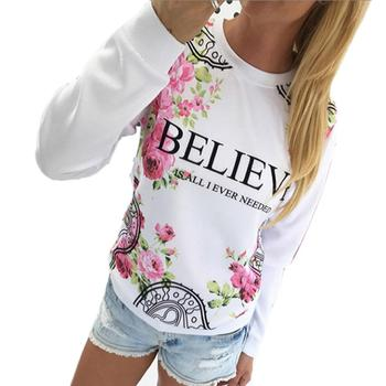 Kimisohand 2017 Fashion Women Casual Loose Cotton Floral Print Hoodies Sportwear Pullover Sweatshirt Long Sleeve Blouse Tops