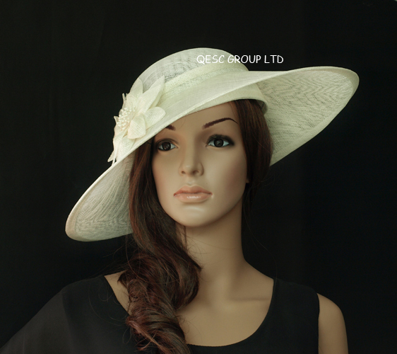 New Cream Ivory Large Sinamay Hat Fascinator Saucer With Flower For Kentucky Derby Melbourne Cup Length 45cm In Hair Accessories From
