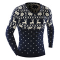 2017 New Sweaters O-Neck Stylish Deer Animal Print Knitted Long Sleeve Sweater Men Sweater Male Sweaters Pullover-Size XXL