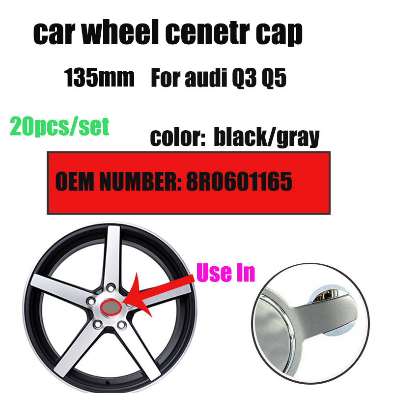20Pcs <font><b>Car</b></font> <font><b>Wheel</b></font> center cap Auto <font><b>Wheel</b></font> <font><b>hub</b></font> emblem <font><b>cover</b></font> for Q3 Q5 image