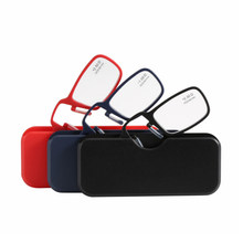 TR90 clip nose reading glasses with case fashion convenient mini models Europe and the United States reading glasses with box(China)