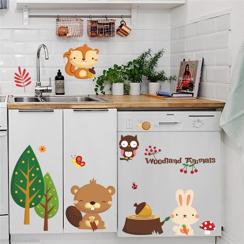 woodland animal Cherry tree wall stickers for kids Home decor bear tree flower pvc wall decals Happy new year