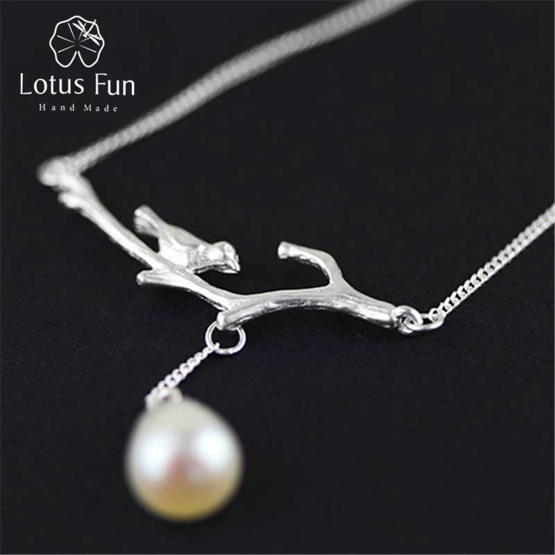 Lotus Fun Real 925 Sterling Silver Natural Pearl Handmade Fine Jewelry Novelty Bird Necklace with Pendant for Women Collier 2 3mm red natural agate necklace multi layers 925 sterling silver with real pearl fine womne jewelry wedding party necklace