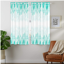 Blackout Curtains Darkening 2 Panels Grommet Window Curtain for Bedroom Geometric Abstract Triangle Green White