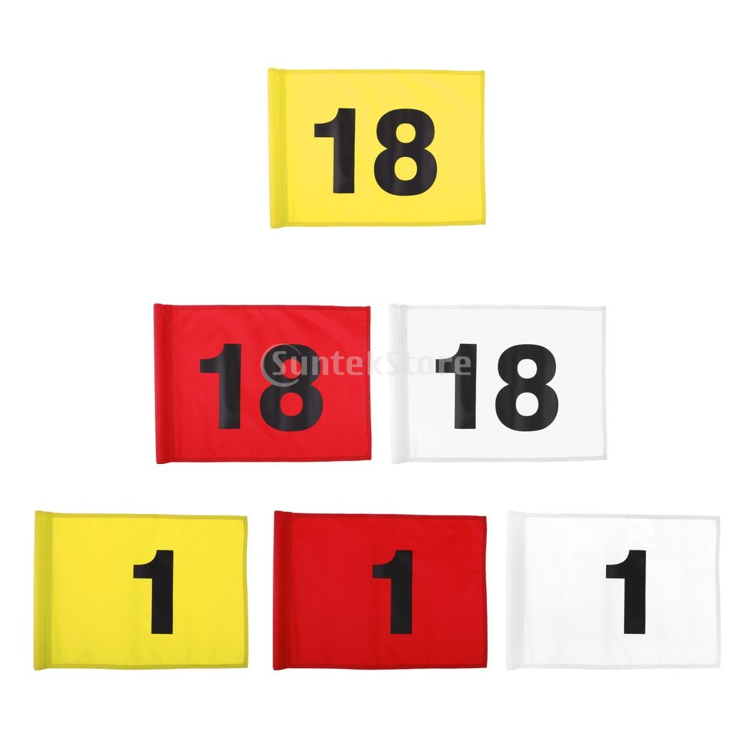 Golf Putting Green Flag - Golf Target Flag - Number 1 or 18 - Outdoor Backyard Garden Golf Sports Training Aid - Choose Colors