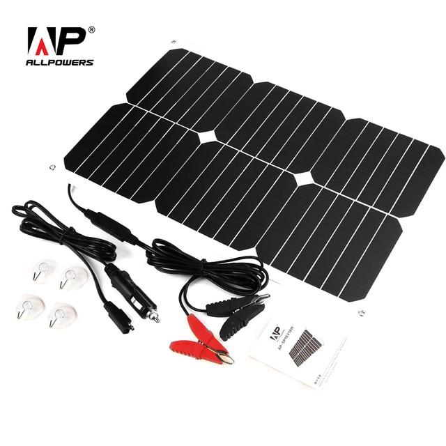 Chargeur de panneaux solaires allpuissances Sun power 18V 18W chargeur de maintenance de batterie de voiture pour batterie 12V moto bateau détecteur de poisson, etc.