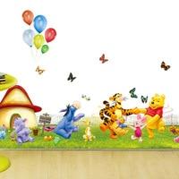 Sevimli Winnie the Pooh çıkarılabilir duvar çıkartmaları çocuk odası ev dekor için bebek kreş çıkartma duvar kağıdı çıkartmalar çocuk doğum günü hediyeleri
