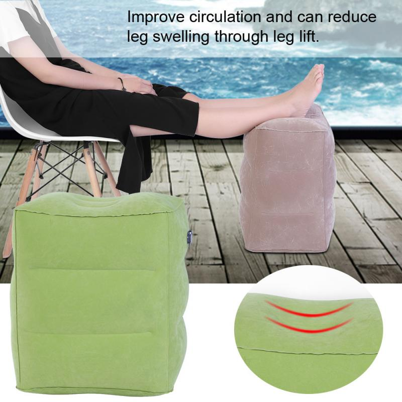 Travel Inflatable Pillow Plane Train Foot MAT Pad Air Inflatable Large Valve Footrest Pillow 3 Layer Cushion Nail Art Salon Tool 3 in 1 inflatable pillow sleeping eyeshade earplug travel set random color