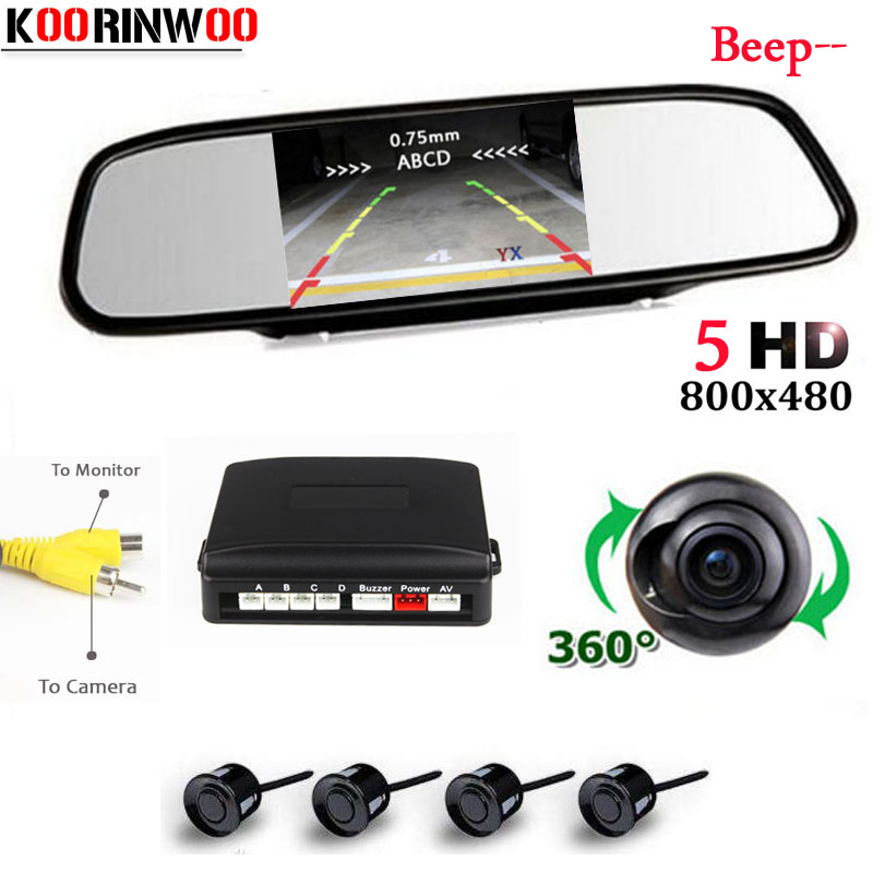 Koorinwoo Voiture Parking sensor kit Alarme Miroir Moniteur Vue Arrière de sauvegarde Caméra de Recul Parking Capteur Radar Système Vidéo