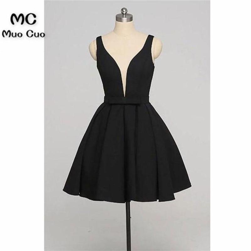 8e07e0c7d Simple 2018 negro graduación vestidos de fiesta corto cuello en V profundo  vestido de fiesta de graduación vestido de cóctel