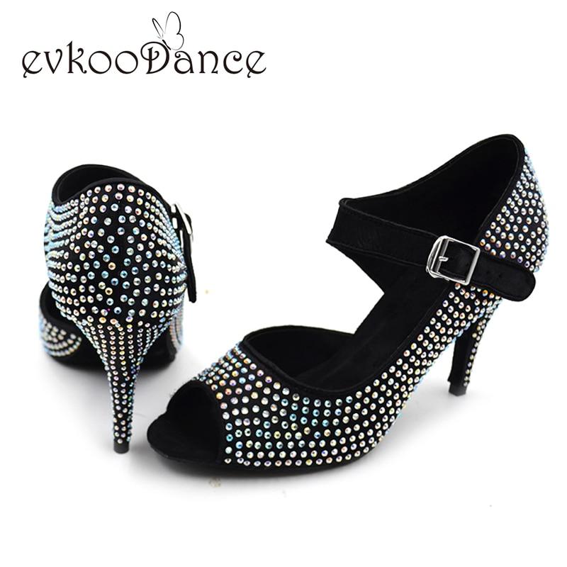 2017 chicas de estilo popular zapatos latinos 8.5 cm de tacón rojo salsa Salsa Tango zapatos de baile latino con diamantes de imitación de colores NL004