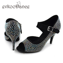 2017 popular style girls latin shoes 8.5cm heel Red Salsa Tango Latin Dance Shoes with Colorful Rhinestones NL004