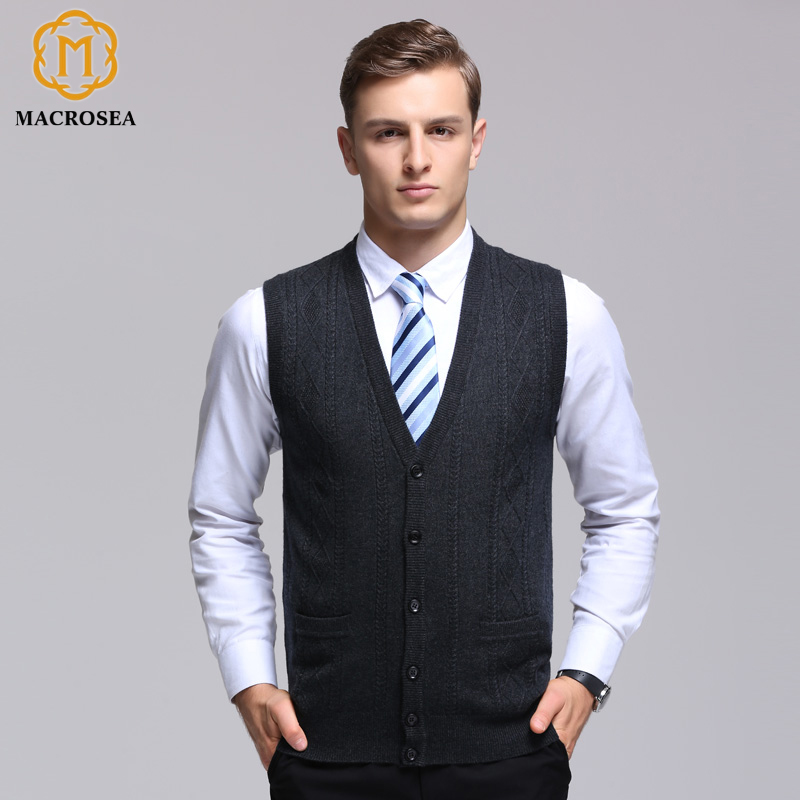 MACROSEA Men's V-neck Wool Cardigan Argyle Pattern Male Knitted Sleeveless Solid Color Vest Sweater Formal Casual Vest Cardigan