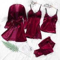 2019 Spring Gold Velvet 4 Pieces Gown Sets robe Sets Women Sexy Lace Robe Pajamas Sleepwear Kit Sleeveless Nightwear Autumn