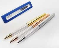 Nueva pluma de cristal hermoso para estudiantes con elementos cristales caja al por menor bolígrafo