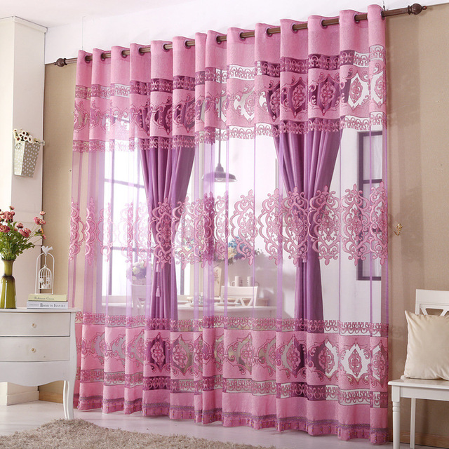 Korean purple bedroom living room curtains through the King Light ...