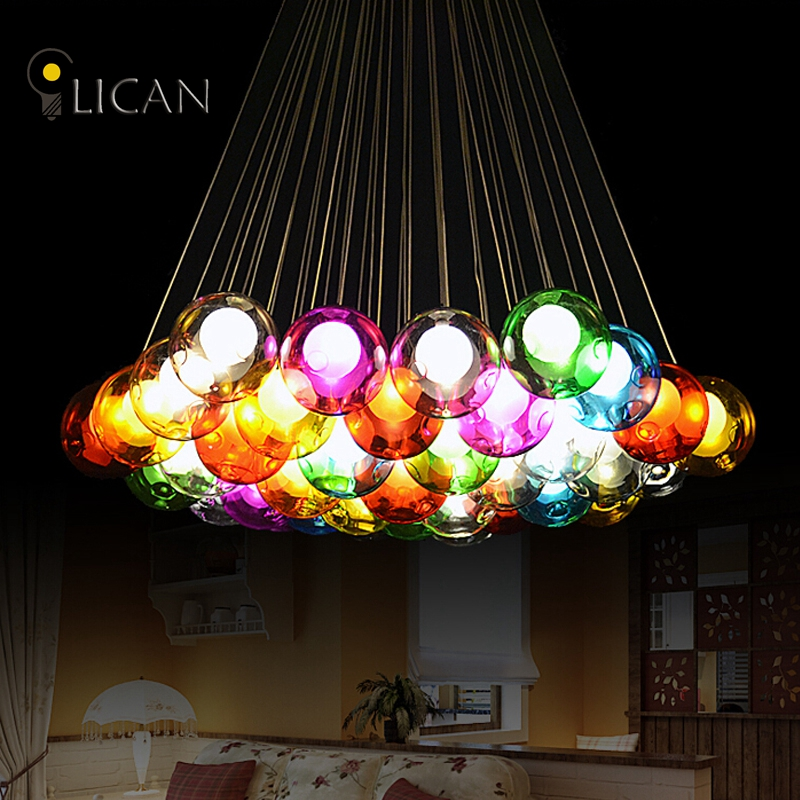 LICAN Lights Modern LED colorful glass pendant Chandeliers lights for dining room living room bar led G4 96-265V glass lights