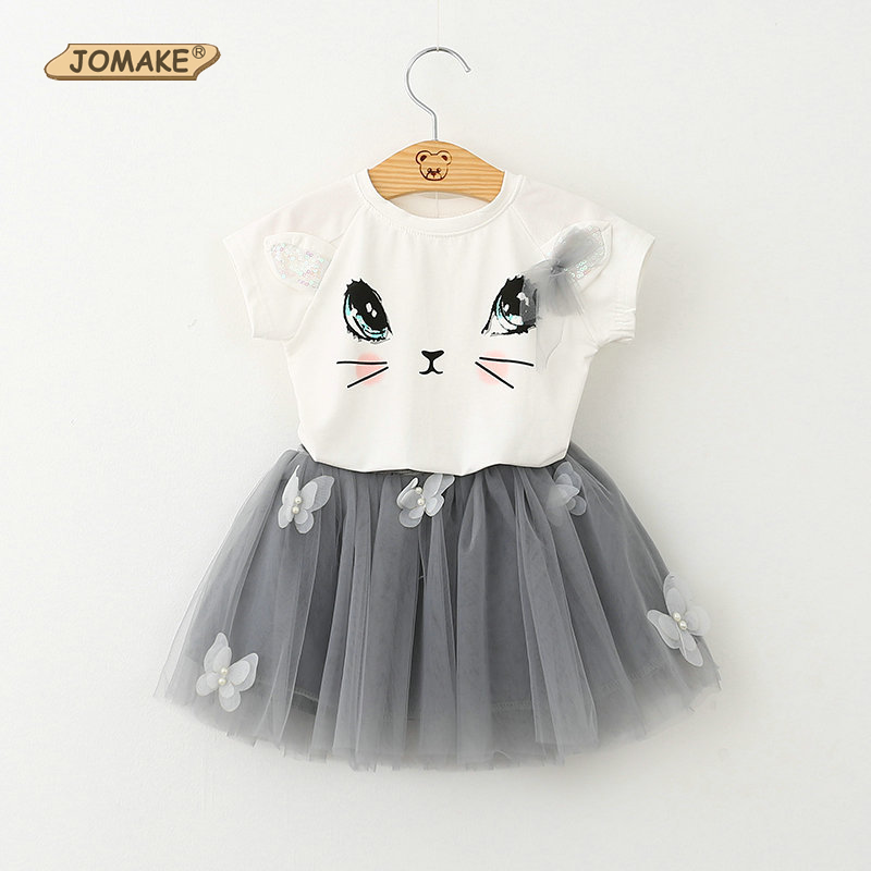 2017 Fashion Summer Girls Clothing Sets Kids Outfits Cat Print Short Sleeve Cotton Tops Tutu Skirt Suits Baby Girl Clothes Set summer princess baby girls kids suits cotton cat print t shirt plaid short pants outfits children set suit clothing