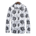 Men's Shirts Hawaiian printed shirt Brand design floral pattern Long Sleeves shirt Casual Plus Size shirt Slim Fit Dress Shirts