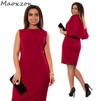 Maoxzon Womens Plus Size Fashion Sleeveless Shawl 2 Piece Dress Sets For Female Casual High Waist Cape Slim Dresses With Split