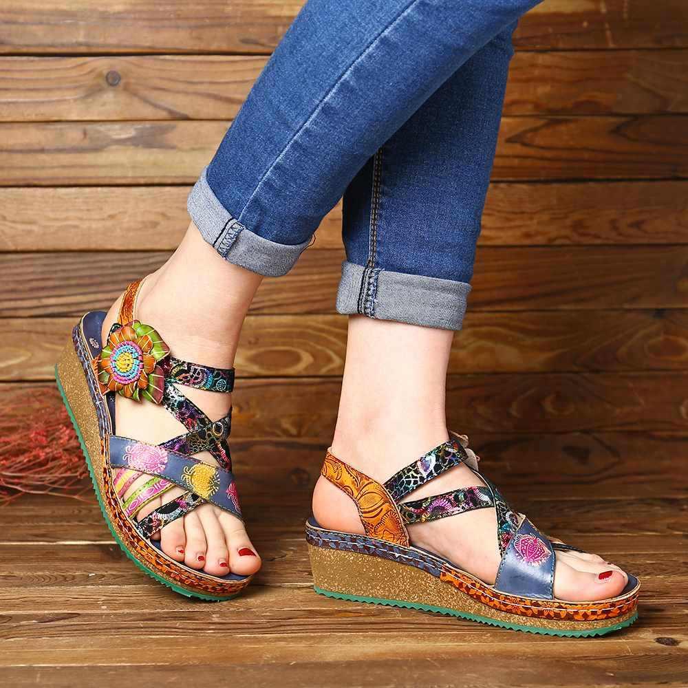 SOCOFY Böhmen Sandalen Muster Echtem Leder Floral Haken Schleife Komfortable Keil Ferse Sandalen Elegante Frauen Schuhe