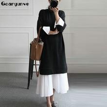 Длинное платье миди для беременных, большие размеры, рубашка для беременных, свитер, лоскутные платья, корейская мода, повседневная одежда для беременных