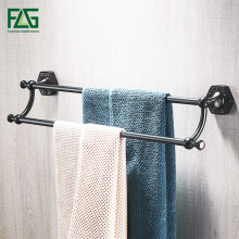 FLG Towel Bars 2 Rails Brass Wall Shelf Towel Holder Bath Shelves Hangers Bathroom Accessories ORB Double Towel Racks free shipping towel racks luxury bathroom accesserries golden finish bath towel shelves towel bar bath hardware db008k 1