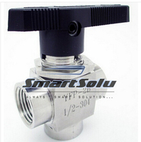 free shipping 304 Stainless Steel 3 way stainless Ball Valve 1/2 BSP Female Thread